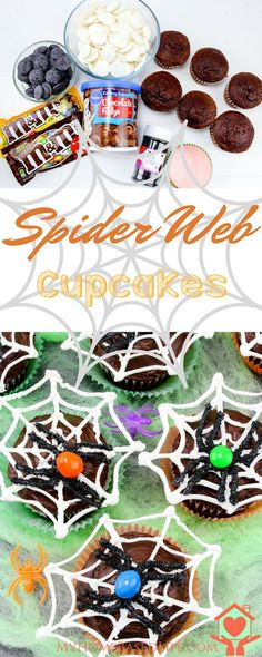 Halloween Spider Web Cupcakes are fun, easy and a great Halloween Treat.  Spider Web Cupcakes | Halloween Cupcakes | Halloween Food | Halloween Party | DIY Halloween | Spider Cupcakes |  via @myhomebasedlife