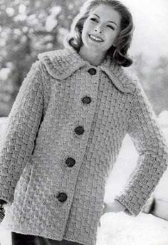 Coat Sweater III, Sizes 10 to 12, 14 to 16 and 18 to 20 | Free Knitting Patterns