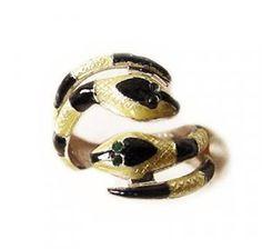 Vintage Enamel Sterling Serpent Ring Signed Espo