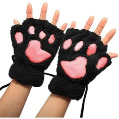 Arshiner Women Bear Plush Cat Paw Claw Glove Soft Winter Gloves... ($6.29) ❤ liked on Polyvore featuring accessories, gloves, cat gloves, cat claw gloves, bear gloves, claw gloves and bear claw gloves