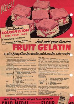 Betty Crocker recipe for colorvision pink swirl cake Retro Recipes, Old Recipes, Vintage Recipes, Cooking Recipes, What's Cooking, Family Recipes, Marble Cake Recipes, Dessert Recipes, Jello Desserts
