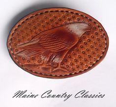 Vintage LEATHER EAGLE BELT BUCKLE Hand Tooled Western Style