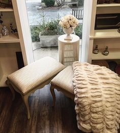 Love this fluffy, creamy display☁️☁️ These refurbished vanity benches are the cutest set of twins we've ever seen! And topped off with a fringed barstool and a faux fur throw...it's downright decadent! All items for sale!  Vanity bench, faux fur, fringe, glam room