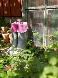 Boots in the garden
