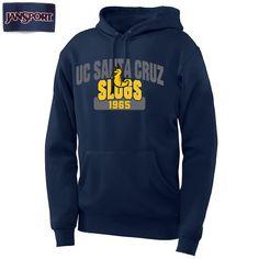 CENTER SLUG IS EMBROIDERY, UC SANTA CRUZ SLUGS SCREEN PRINT.