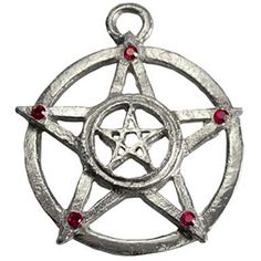 Double Upright Pentacles w/ Red stones 15% Off Coupon Code: 15PINOFF