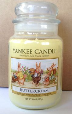 YANKEE CANDLE VINTAGE EASTER BUNNY BUTTERCREAM 22 OZ JAR CANDLE EXTREMELY RARE #YankeeCandle