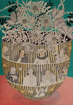 striped pot with friends | by cate edwards