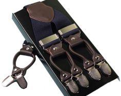Pánske kožené traky s elastickým pásom v modrej farbe