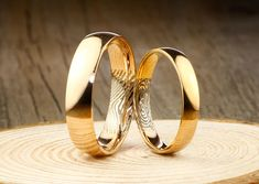 Your Actual Finger Print Rings, , His and Her Promise Rings, Rose Gold Wedding Anniversary Titanium Rings Set Gold Wedding, Wedding Bands, Wedding Ring, Wedding Jewelry, Dream Wedding, Fingerprint Jewelry, Titanium Rings, Promise Rings, Jewelry Stores