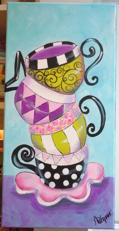 Tea cups Coffee cups painting whimsical colorful by AdoraArt, $65.00