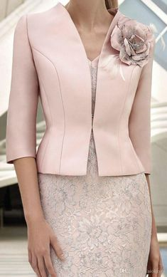 Elegant Pink Mother Of The Bride Dresses With Jacket Lace Appliqued Beads Wedding Guest Dress Knee Length Flower Formal Mother Outfit Prom Designer Mother Of The Bride Dress Mother Dresses For Wedding From Faiokaver, $114.06| DHgate.Com