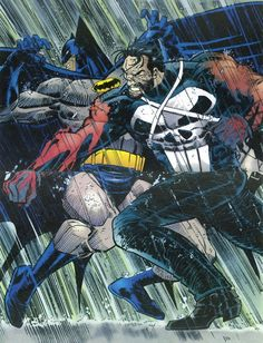 The Punisher Clocks Batman! // artwork by John Romita Jr., Klaus Janson and Christie Schelee (1994)