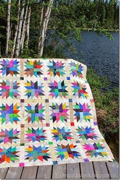 This is Rae's Star Light, Star Bright batik quilt and she found the pattern at Prairie Chicks Quilt Shop in Warman, Saskatchewan.