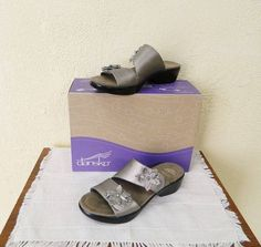 Dansko Donna Floral Burnished Leather Sandals 11.5-12/42 Pewter NIB 2408970200 #Dansko #Slides