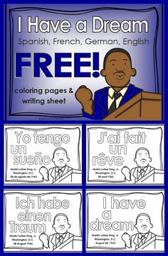 FREE: In honor of Martin Luther King, Jr's 86th birthday, a coloring sheet in Spanish, French, German and English. Plus, an any-language writing sheet.