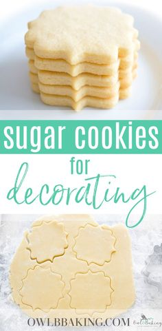 The best no chill sugar cookie cut out recipe! The Best Sugar Cookie cut outs are soft, thick, sinfully buttery and taste amazing whether they are decorated or not! Make easy sugar cookie cut outs that keep their shape & edges. This is a no-chill recipe! Roll Out Sugar Cookies, Rolled Sugar Cookie Recipe, Cut Out Cookie Recipe, Lemon Sugar Cookies, Chewy Sugar Cookies, Cookie Dough Recipes, Sugar Cookies Recipe, Cookies Et Biscuits, Food Network Sugar Cookie Recipe