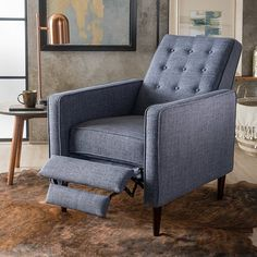 Buy Macedonia Mid Century Modern Tufted Back Fabric Recliner by GDFStudio on Dot & Bo