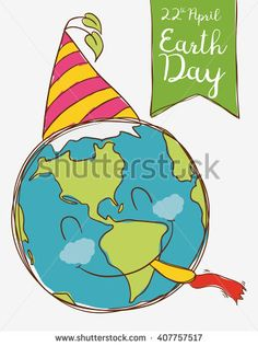 Cute smiling planet ready to party in Earth Day celebration.