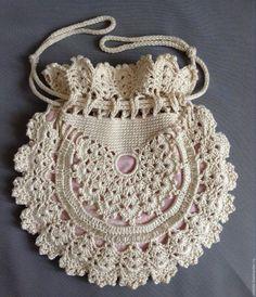 Items similar to Ladies crochet summer handbag / White summer bag/ Purse on Etsy Crochet Kids Scarf, Crochet Tote, Crochet Shoes, Crochet Handbags, Crochet Purses, Crochet Clothes, Ribbed Crochet, Crochet Lace Edging, Irish Crochet