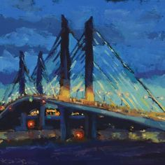 """Painting is a bit like putting a firefly in a jar and sharing it with others. Moments memories and senses are captured placed on the wall so the viewer can revisit as often as they like."" - Kristina Sellers  Discover more moments and memories in Kristina's Artfinder shop! #painting #art #oregon #bridge #impressionism #dusk by artfinder_com"