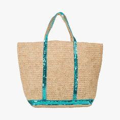 Sac cabas paillettes et rafia Vanessa Bruno #LeBonMarche #FeteDesMeres Vanessa Bruno, Straw Bag, Burlap, Reusable Tote Bags, Polyvore, Bags, Glitter, Hessian Fabric, Jute