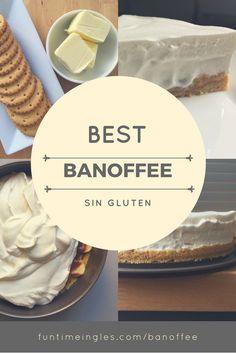 Banoffee: base de galletas sin gluten y mantequilla, rodajas de plátano, atencíón: cubiertas de dulce de leche y una ligera nata montada casera por encima. ¿Quién se puede resistir? Delicioso y súper fácil!