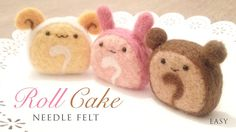 Needle felted roll cakes