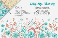 Watercolor floral border - turquoise by Lolly's Lane Shoppe on @creativemarket
