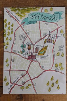 Custom Watercolor Wedding Map of your Wedding City/Town  A wedding map is a great way to mark key landmarks of your wedding weekend for guests!