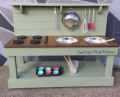 Outdoor kitchen demonstrating the use of: Diagonal Corner DIY Rapid Panel Kit With Precut Cement Board Outdoor Kitchen Module Fits Egg Smokers, Sinks, Sidebur Outdoor Play Kitchen, Mud Kitchen For Kids, Mud Pie Kitchen, Outdoor Play Spaces, Outdoor Kitchens, Kitchen Decor, Kitchen Corner, Kitchen Units, Giant Bubble Wands