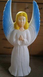 "Union Blow Mold Angel 30"" Tall Lights Up Blonde Hair Blue Eyes Christmas Yard | eBay"