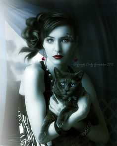 Lady and the Cat...photomanipulation of Swedish artist Cindy Grundsten
