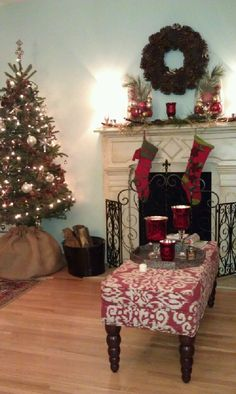 My faux fireplace at Christmas time.