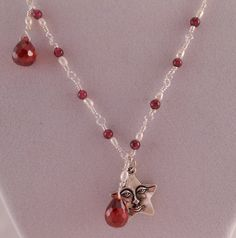 Pearl Necklace Garnet Necklace Star Necklace Silver by Rumis, $45.00