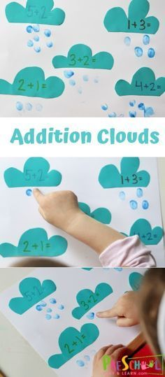 Addition Clouds - this is such a fun preschool hands on math activity that allows them to count while adding the numbers 1-10. This is perfect for a spring theme math center #preschool #preschoomath #addition