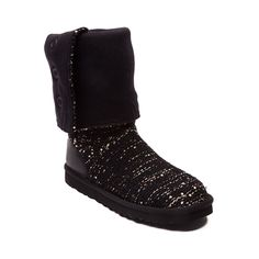Shop for Womens UGG® Cardy Sequin Boot in Black at Journeys Shoes. Shop today for the hottest brands in mens shoes and womens shoes at Journeys.com.Be the life of the party with the new UGG Cardy! The Cardy Sequin Boot casts versatility and style with its warm knitted upper and metallic accents. The 8 shaft can be worn up, slouched down, or folded over, and youll be sure to stay warm and comfortable with the sheepskin sockliner and lightweight EVA outsole with a leather heel guard for ...