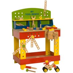 What little handyman (or handygirl) could fail to be delighted by this complete wooden tool bench? It's clamps, nuts and bolts, wrench and screwdriver are all made of wood so are completely safe, allowing your child to spend hours discovering how to make models (or even fix the kitchen sink!) From age 3 years+
