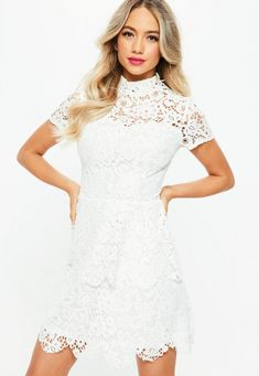 aa6dcbf6b7 Tall White Short Sleeve Layered Lace Dress Off White Dresses