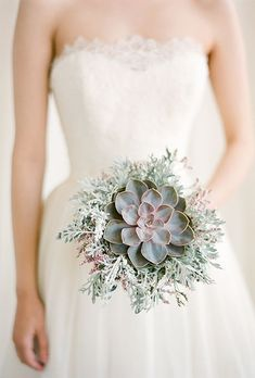 Simple But Pretty Succulent Bouquet For Your Wedding