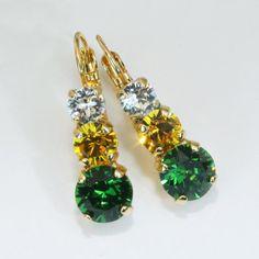 Green Yellow Earrings Packers Earrings Ducks Earrings Oakland Athletics drop earring Green Bay Packers,Swarovski crystal Game Day ,Gold,GE45