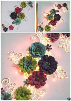 DIY String Light Backlit Canvas Art Ideas Crafts - Light Up 3D Floral Canvas