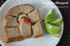 Try out this cute sandwich to send with your kids for lunch, make a quick and easy fall-themed meal or use with your Thanksgiving leftovers!