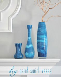 DIY Paint Projects: Decorate your home with these fabulous swirl pattern painted vases. Make them in whatever colors you want to match your decor. All you need is the glass vessel and some craft paint. Paint Swirl Vases Tutorial
