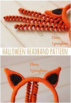 Crochet Monkey Pattern, Crochet Rabbit, Crochet Headband Pattern, Crochet Fox, Halloween Crochet Patterns, Crochet Toys Patterns, Crochet Ideas, Summer Headbands, Halloween Headband