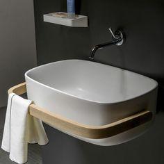 Rectangular washbasin / countertop / beech / polyurethane BOUNCE by Monica Graffeo Thermomat Srl