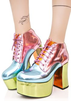 782660247988 PASTEL PLAYHAUS PLATFORMS  dollskill  sugarthrillz  shoes  pastel  kawaii  Color Block Shoes