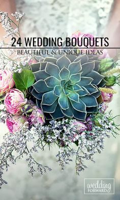24 Wedding Bouquets That Are Beautiful & Unique ❤ Try to incorporate into unique wedding bouquets exotic protea, colorful kale flowers, great combination of pine cones and cotton, single oversized succulents. See more: http://www.weddingforward.com/beautiful-wedding-bouquets/ #wedding #bouquet