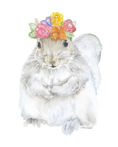 Gray Squirrel with Flowers Watercolor