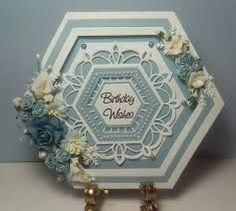 Good Morning Ladies, I hope you are all well and those that aren& feeling are starting to feel a little brighter xx I r. Birthday Wishes, Birthday Cards, Hexagon Cards, Tattered Lace Cards, Sue Wilson, Interactive Cards, Shaped Cards, Beautiful Handmade Cards, Pretty Cards